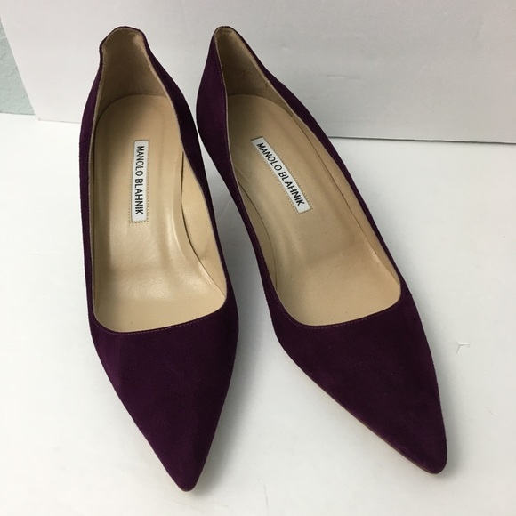 464193386d7e6 Manolo Blahnik Shoes | Bb 50 Purple Suede Pumps Eu 37 Us 7 | Poshmark